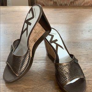ANNE KLIEN Sport Bronze Leather Mesh & Cork slides